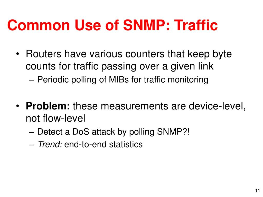 Common Use of SNMP: Traffic