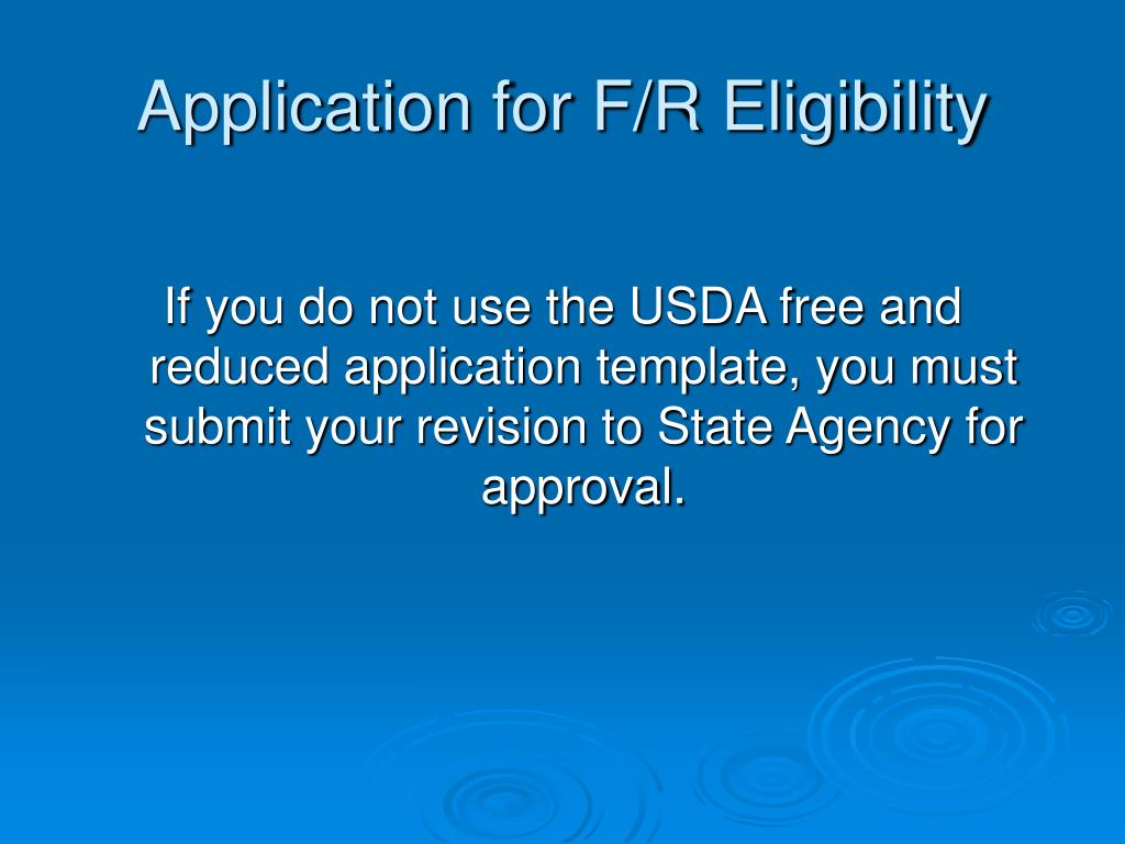 Application for F/R Eligibility
