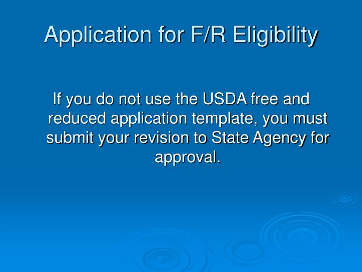 Application for f r eligibility
