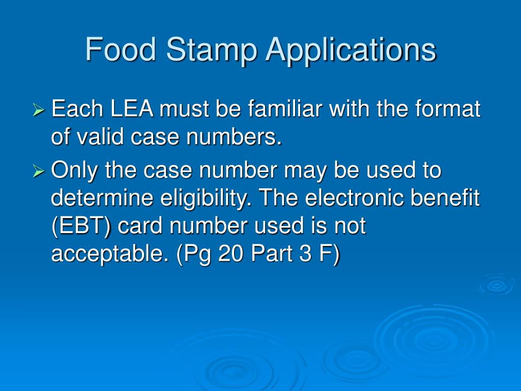 Food Stamp Applications