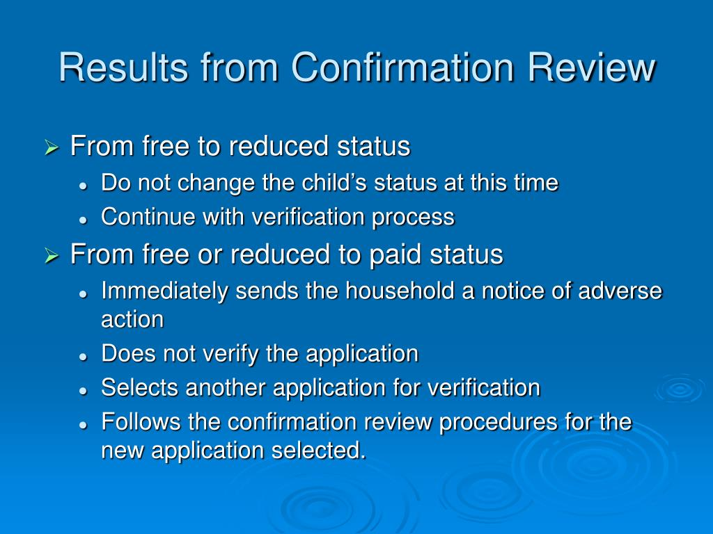 Results from Confirmation Review