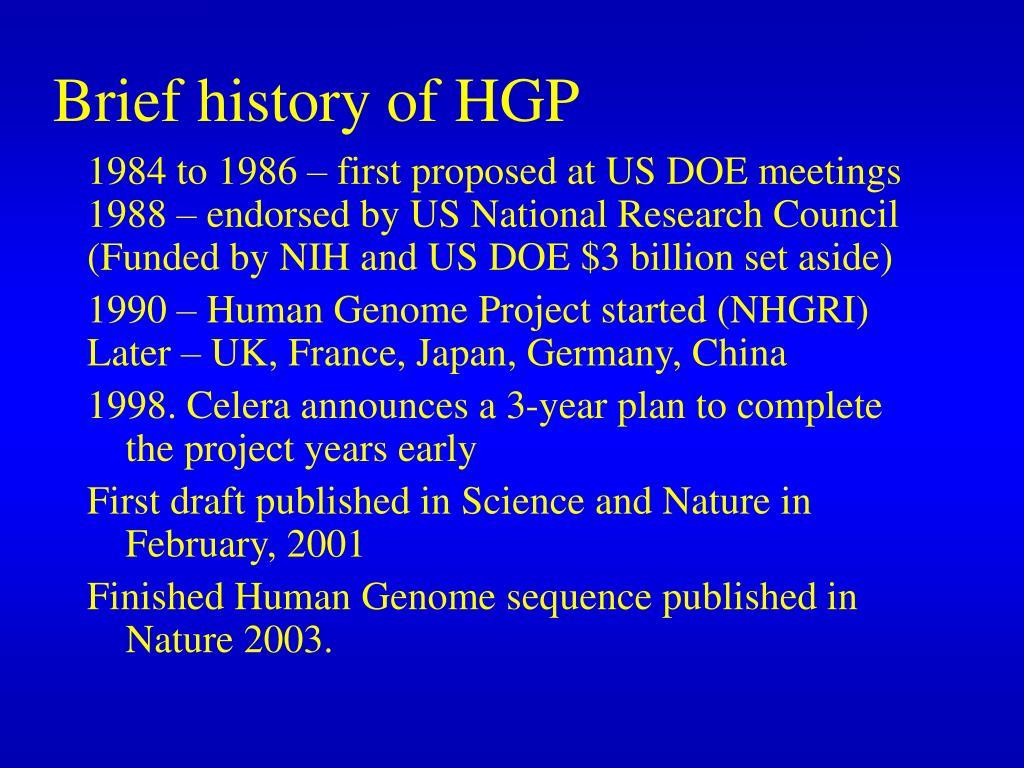 Brief history of HGP