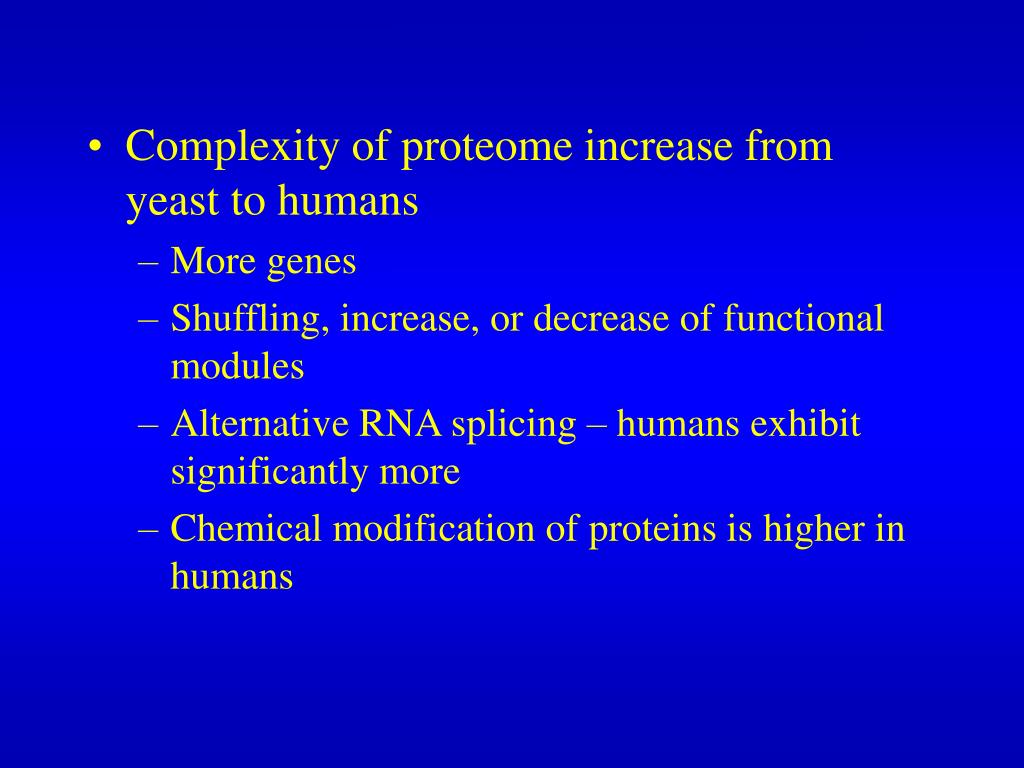 Complexity of proteome increase from yeast to humans