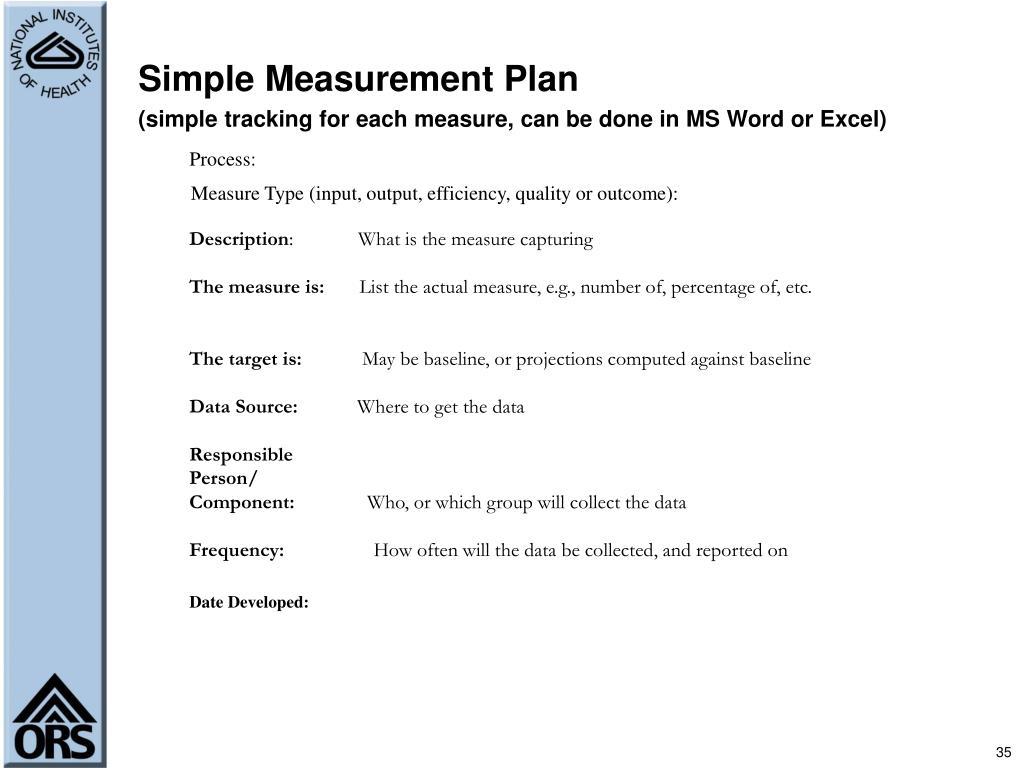 Simple Measurement Plan