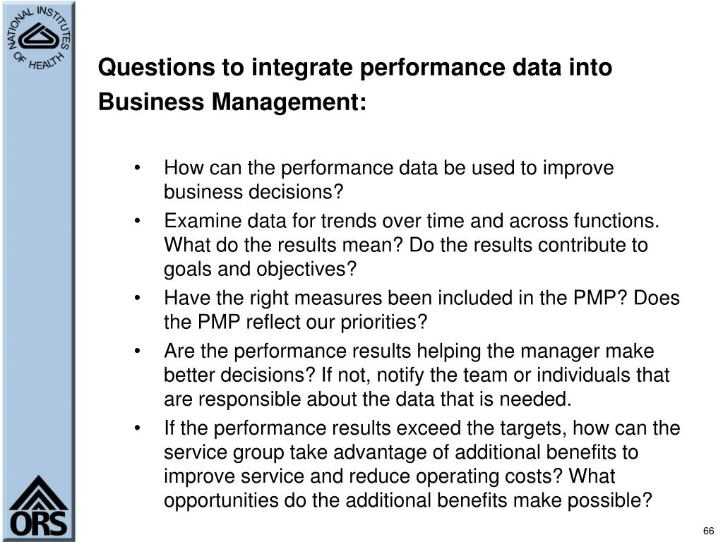 Questions to integrate performance data into