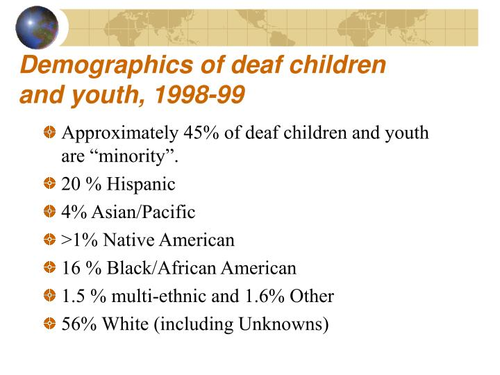 Demographics of deaf children and youth 1998 99