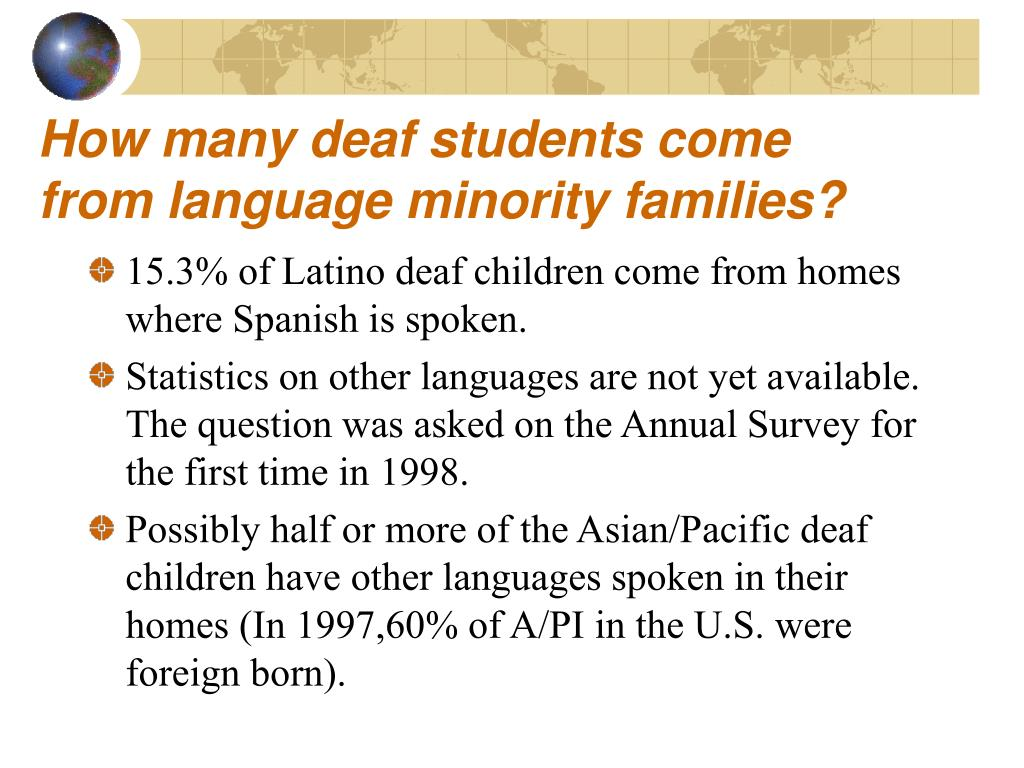How many deaf students come from language minority families?