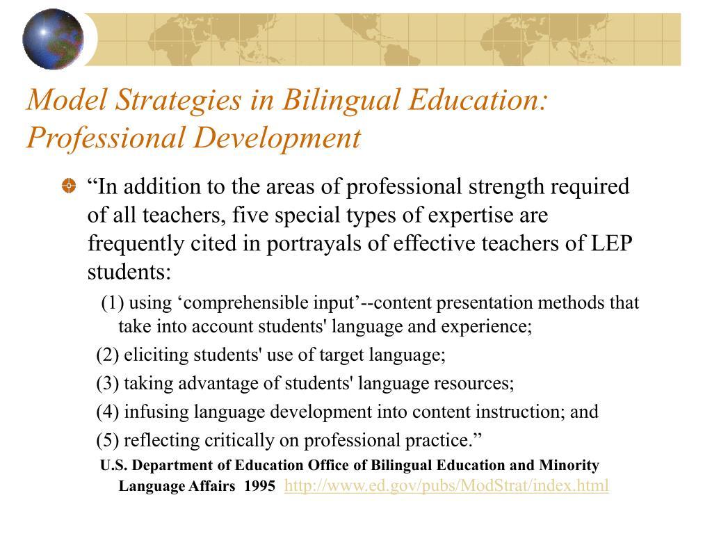Model Strategies in Bilingual Education: Professional Development