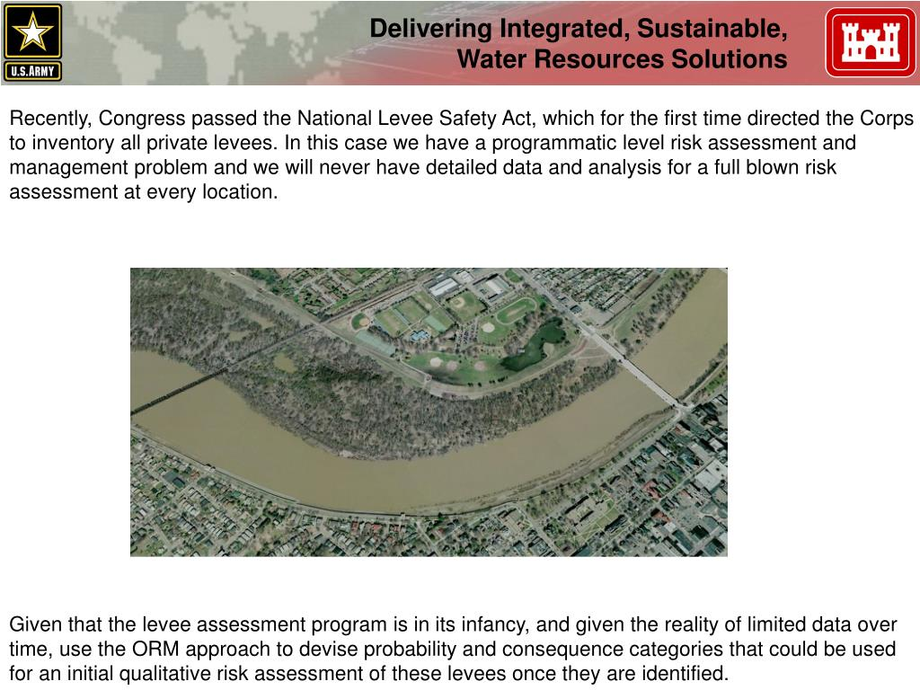 Recently, Congress passed the National Levee Safety Act, which for the first time directed the Corps
