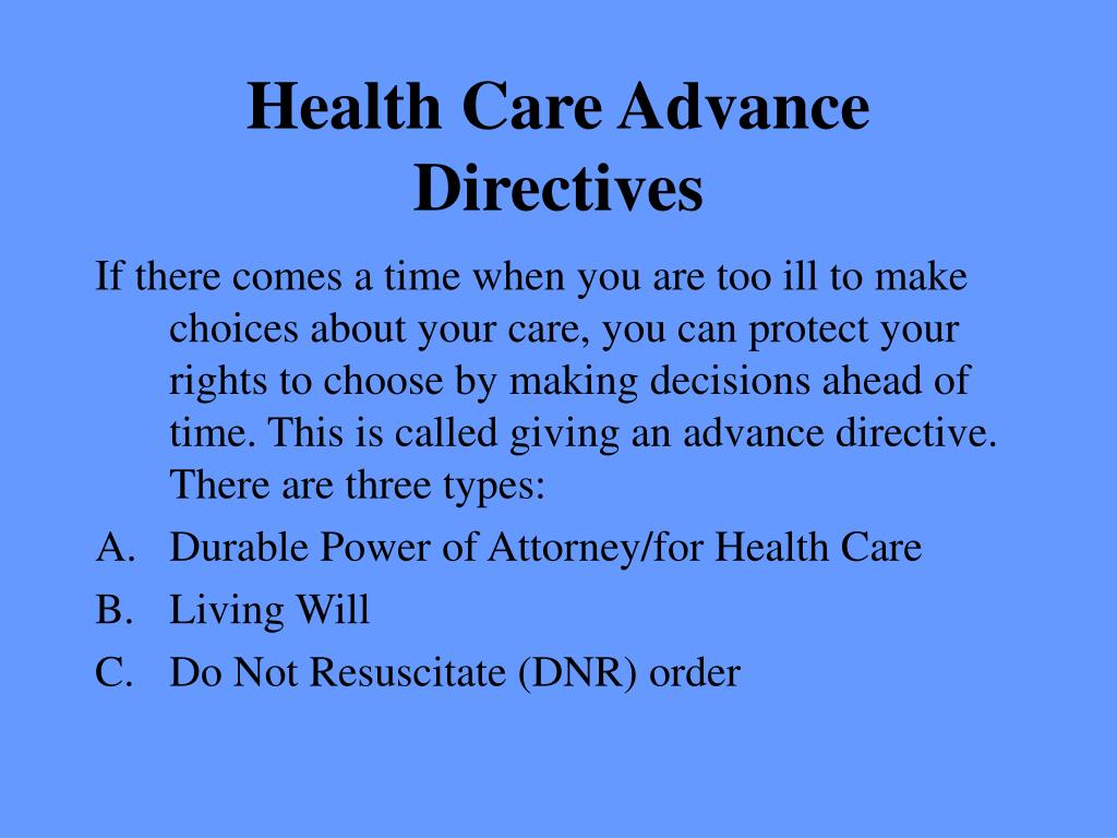 Health Care Advance Directives