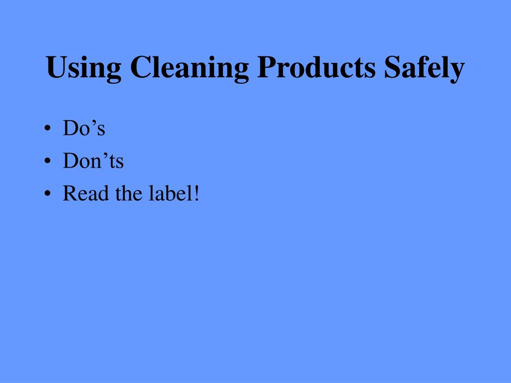 Using Cleaning Products Safely