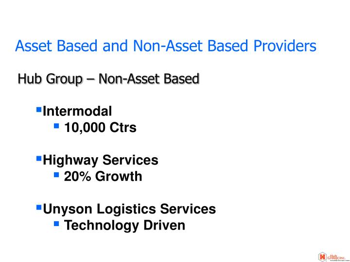 Asset based and non asset based providers