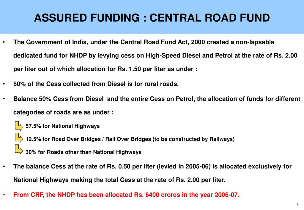ASSURED FUNDING : CENTRAL ROAD FUND
