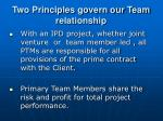 two principles govern our team relationship