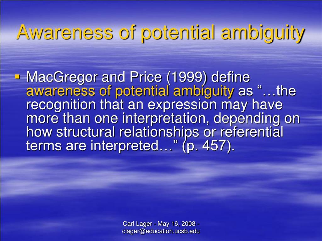 Awareness of potential ambiguity