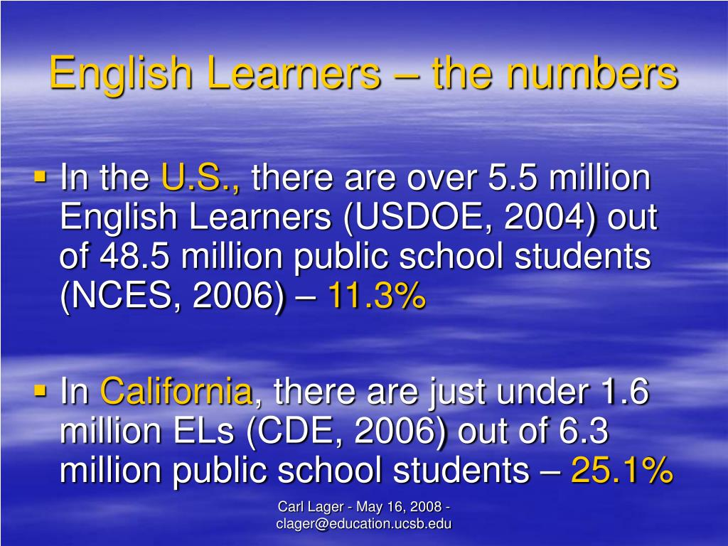 English Learners – the numbers