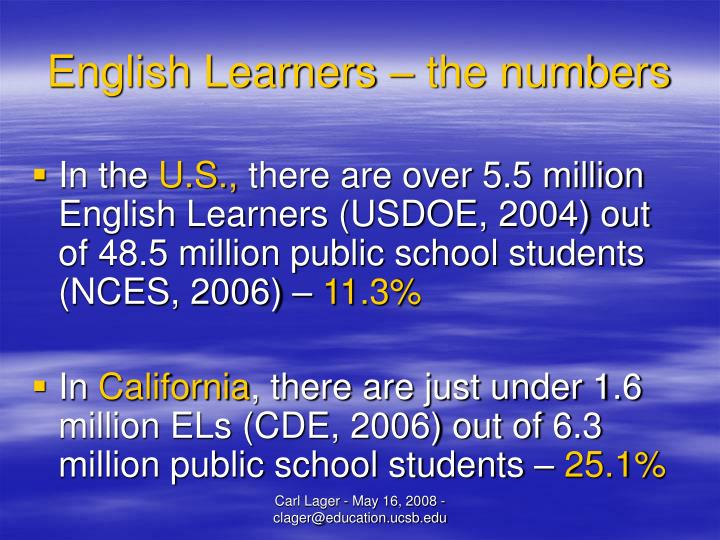 English learners the numbers