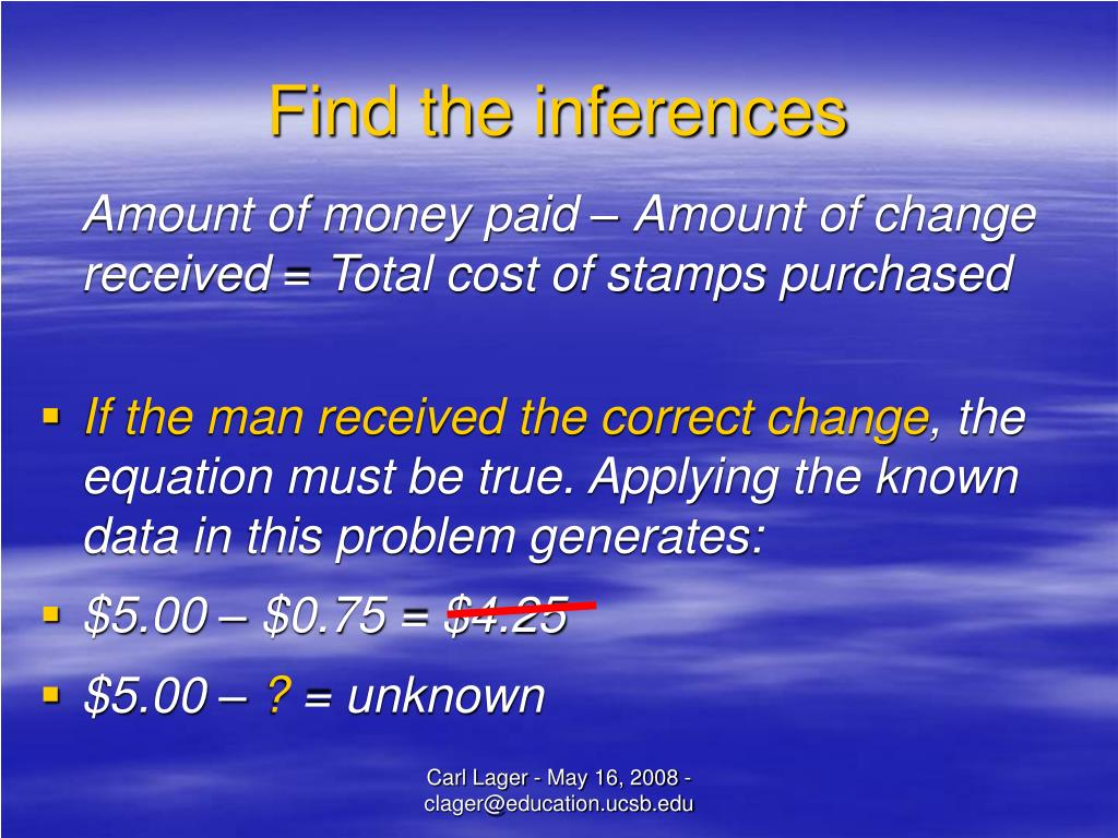 Find the inferences