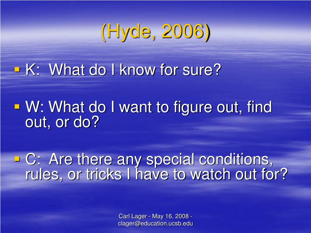(Hyde, 2006)