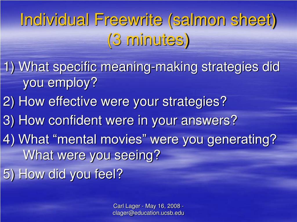 Individual Freewrite (salmon sheet)
