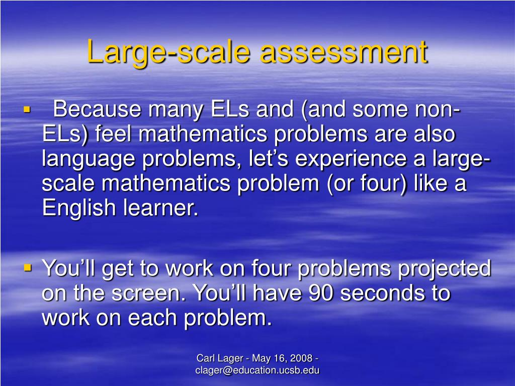 Large-scale assessment