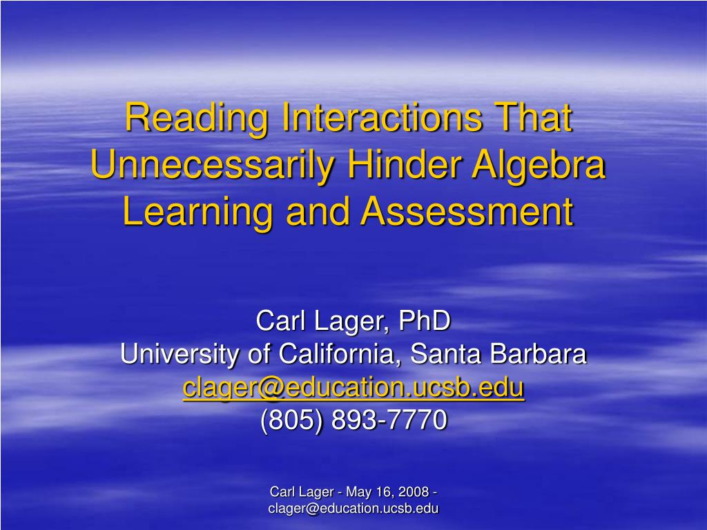 Reading Interactions That Unnecessarily Hinder Algebra Learning and Assessment