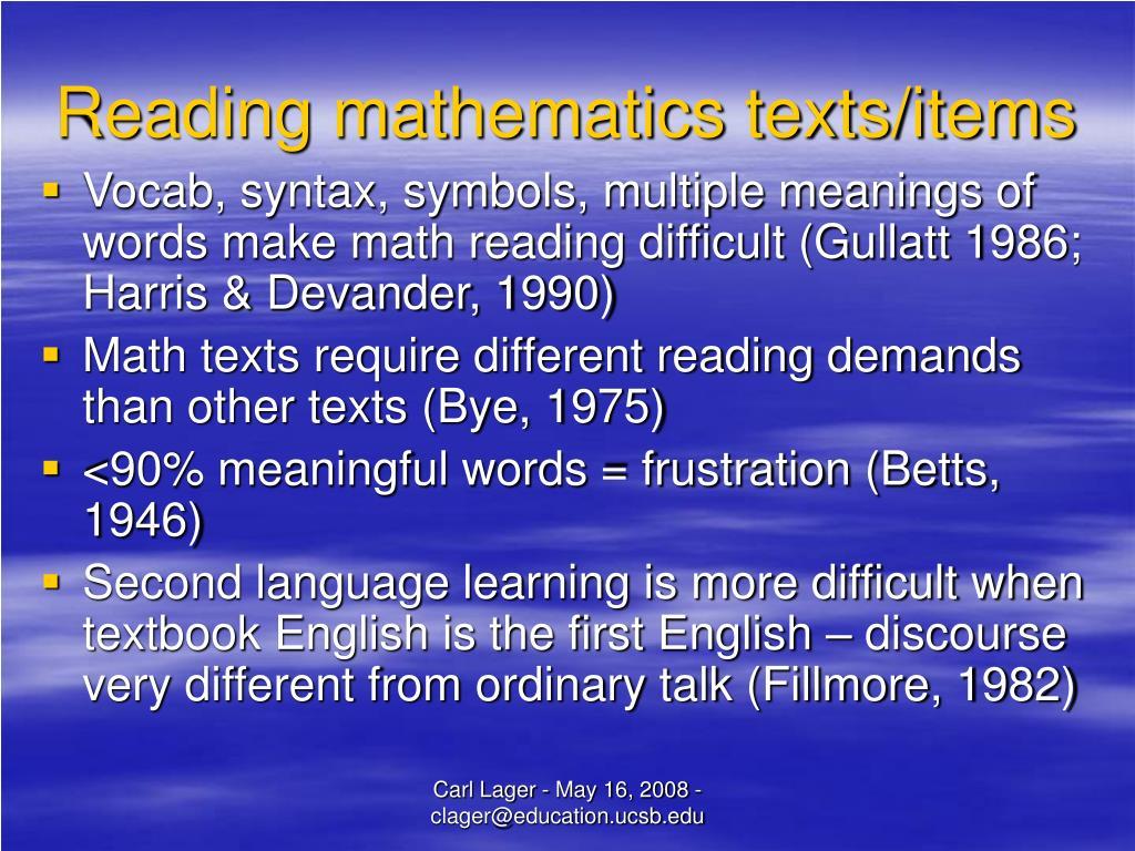 Reading mathematics texts/items