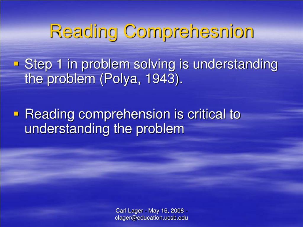 Reading Comprehesnion