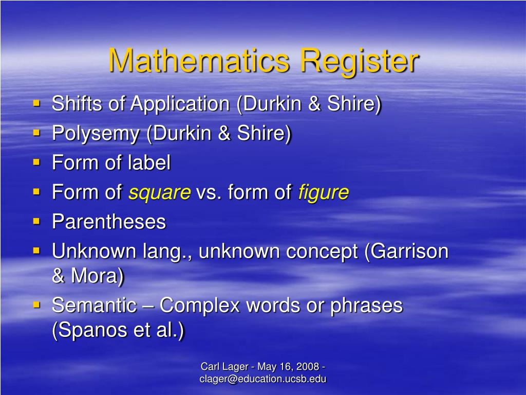 Mathematics Register