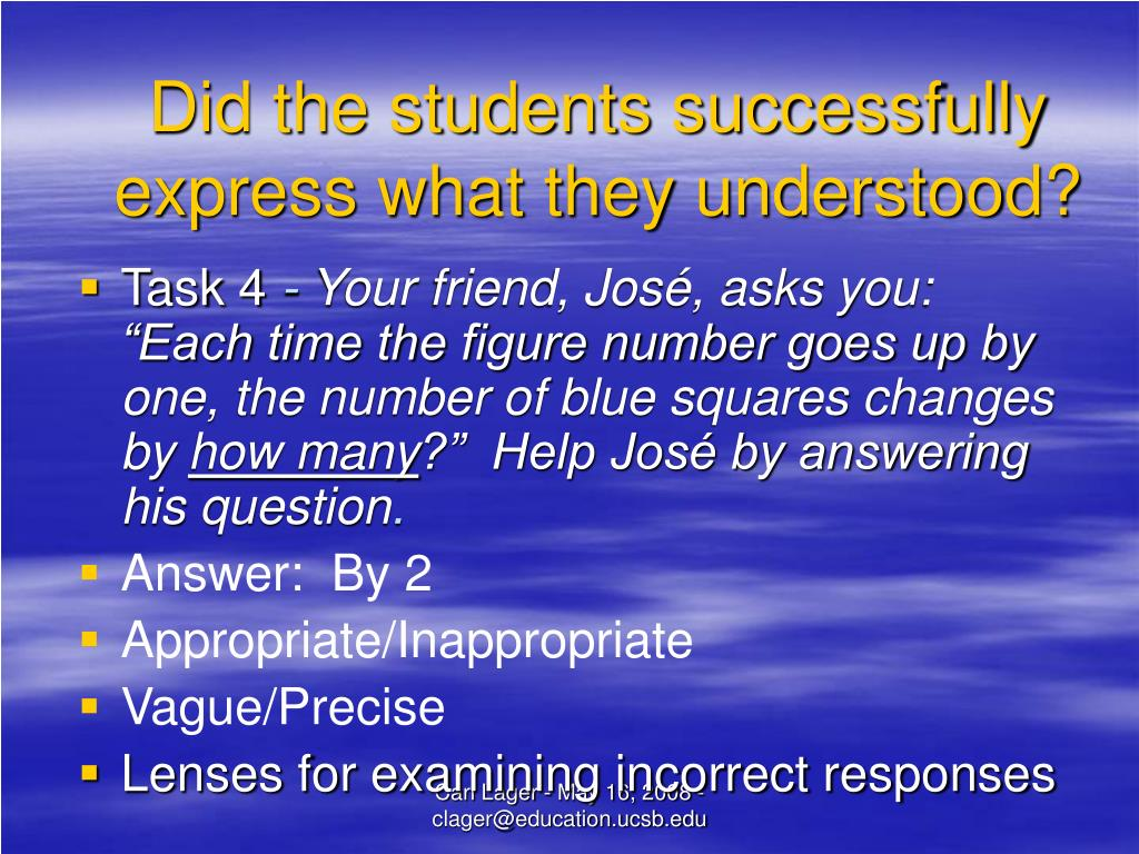 Did the students successfully express what they understood?