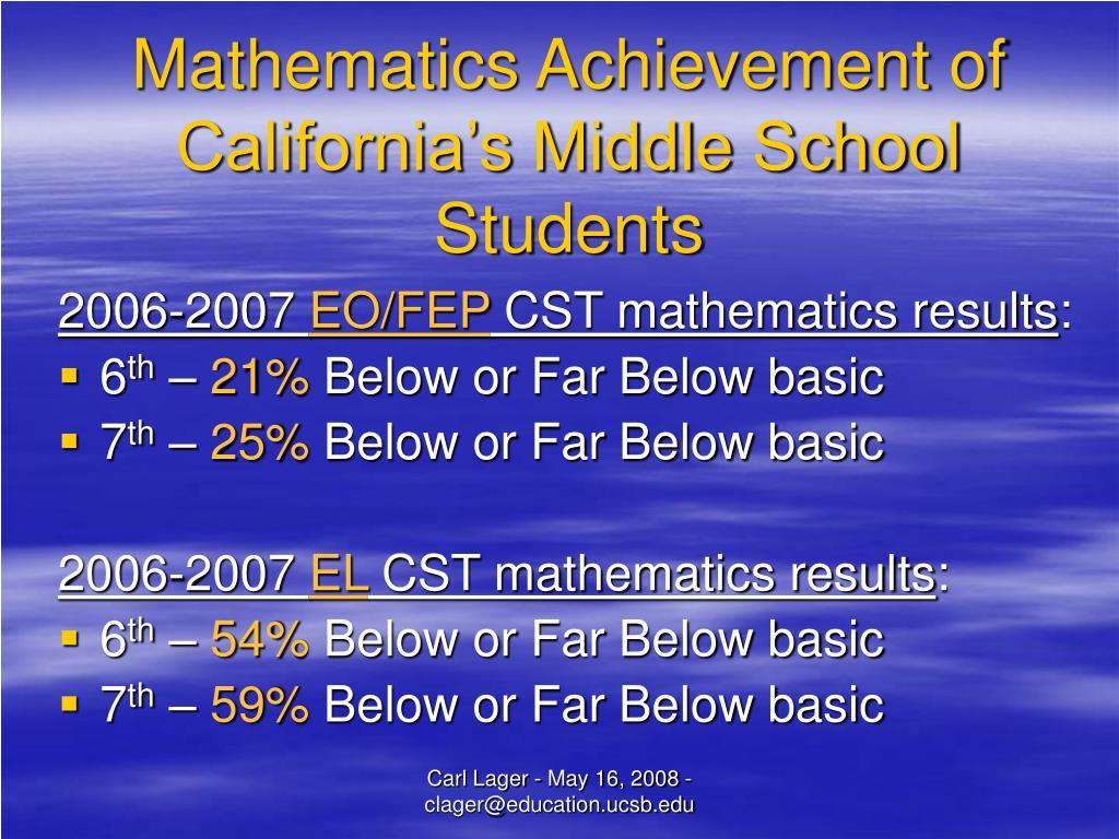 Mathematics Achievement of California's Middle School Students