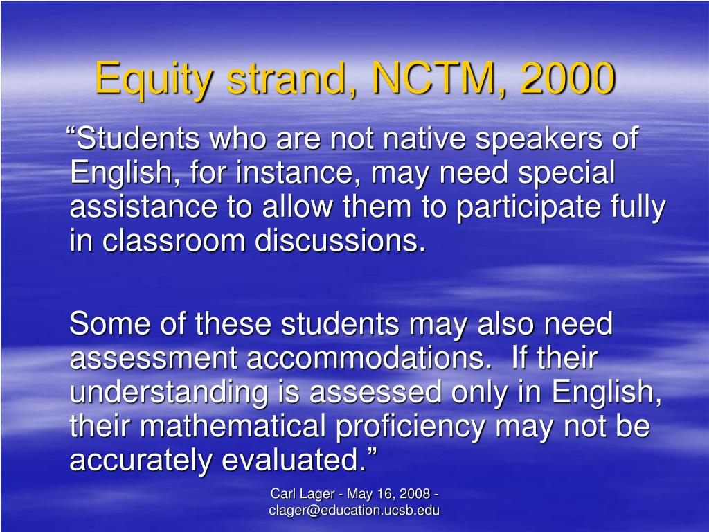 Equity strand, NCTM, 2000