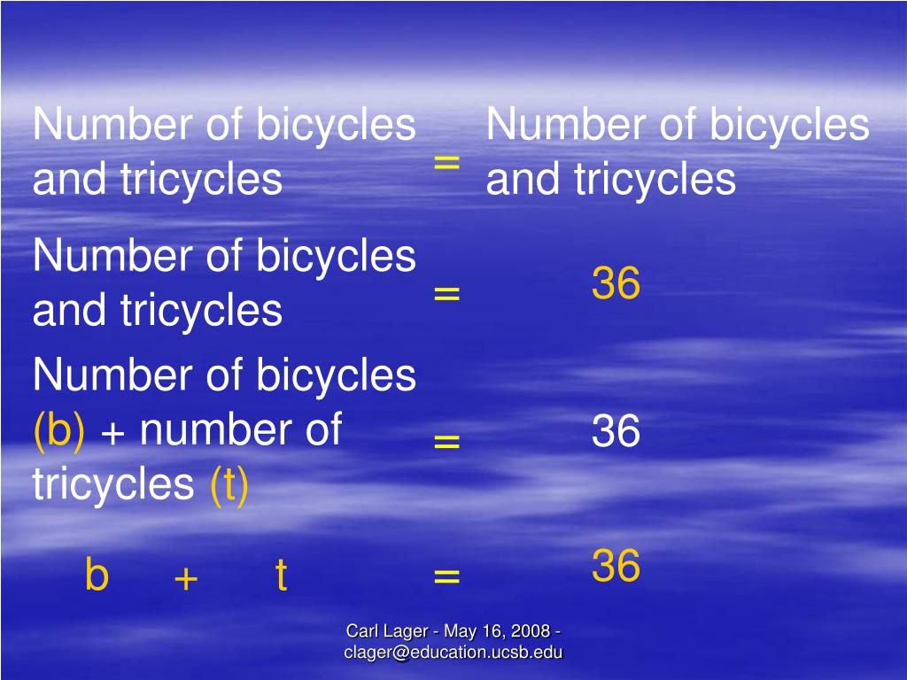Number of bicycles and tricycles