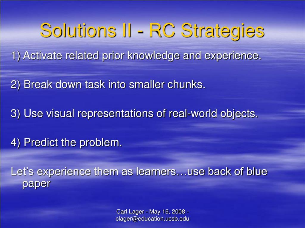 Solutions II - RC Strategies