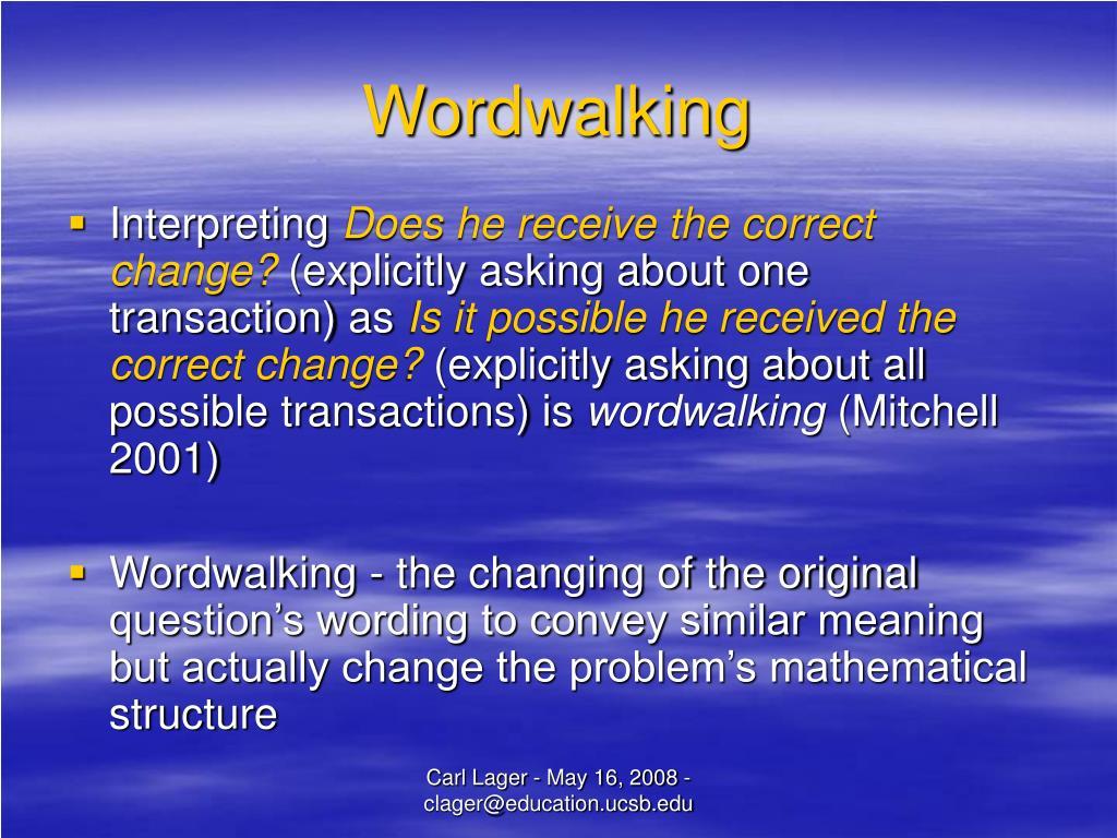 Wordwalking
