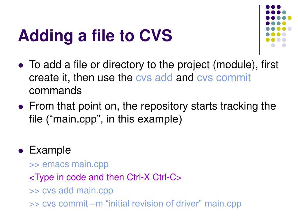 Adding a file to CVS