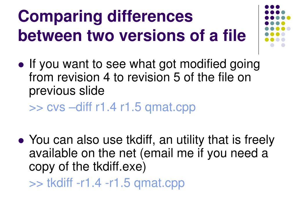 Comparing differences between two versions of a file