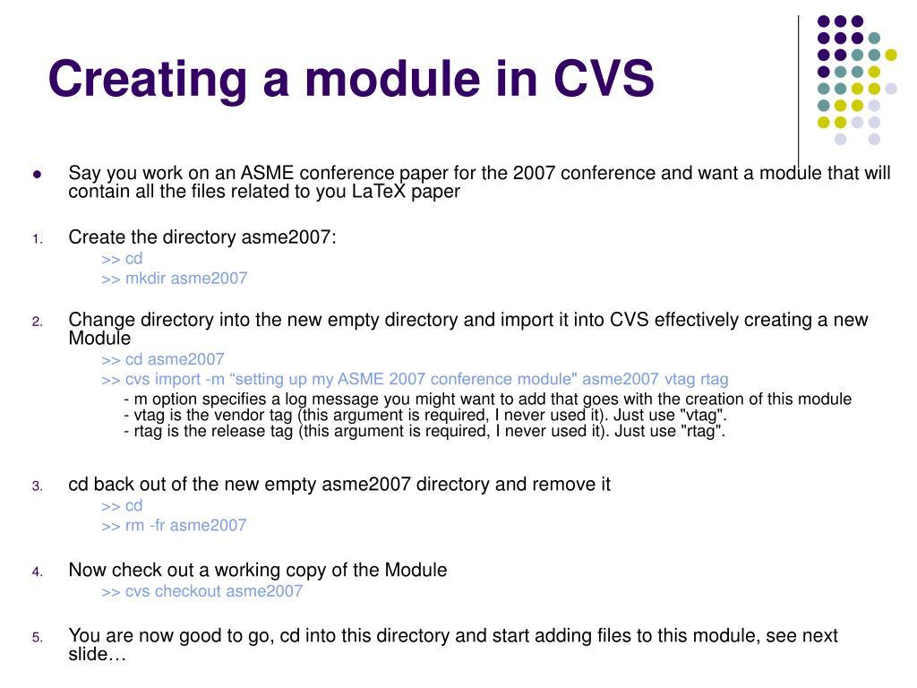 Creating a module in CVS