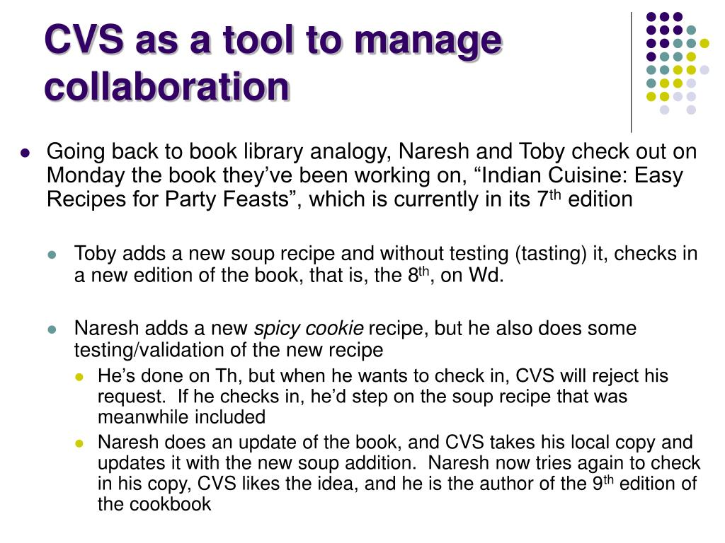 CVS as a tool to manage collaboration