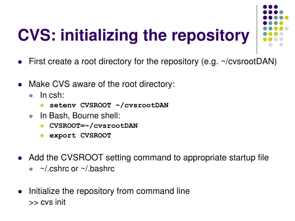CVS: initializing the repository