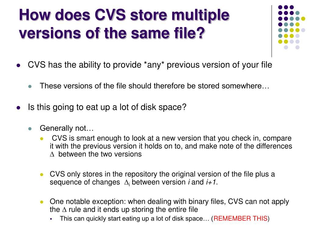 How does CVS store multiple versions of the same file?