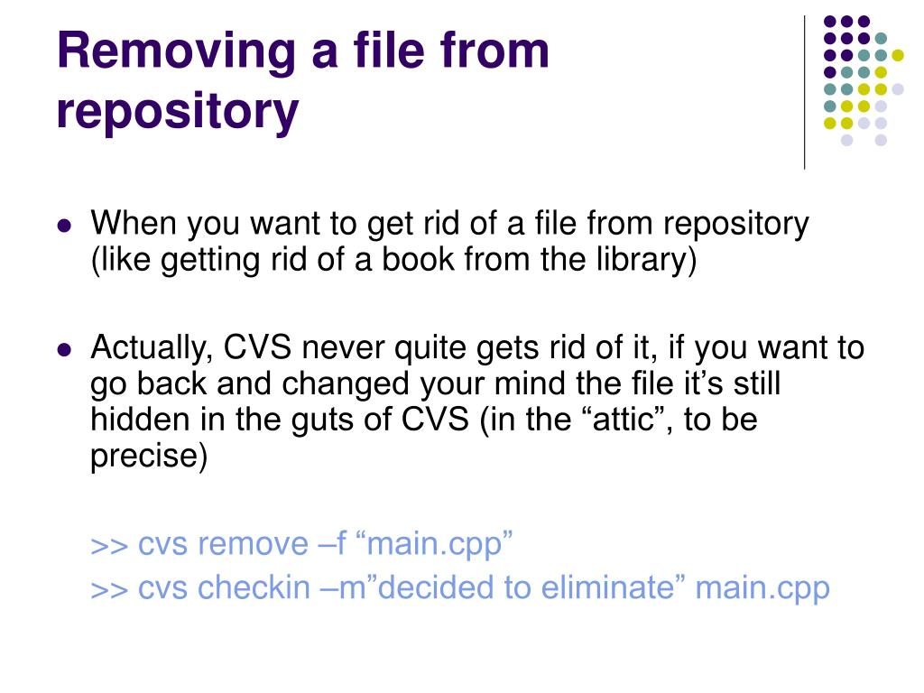 Removing a file from repository