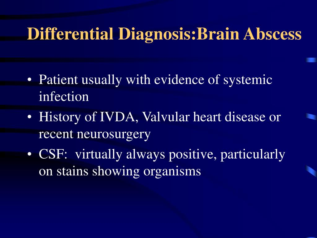 Differential Diagnosis:Brain Abscess