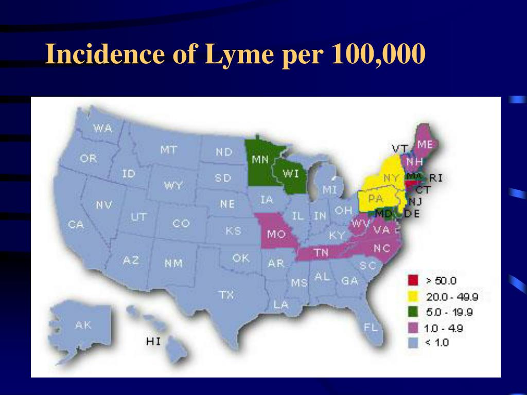 Incidence of Lyme per 100,000