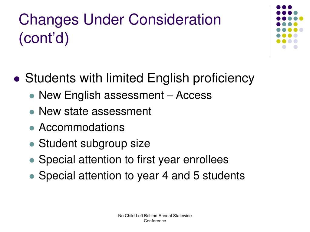 Changes Under Consideration