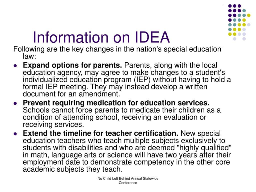 Information on IDEA