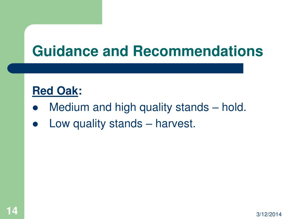 Guidance and Recommendations