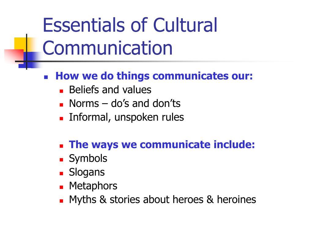Essentials of Cultural Communication