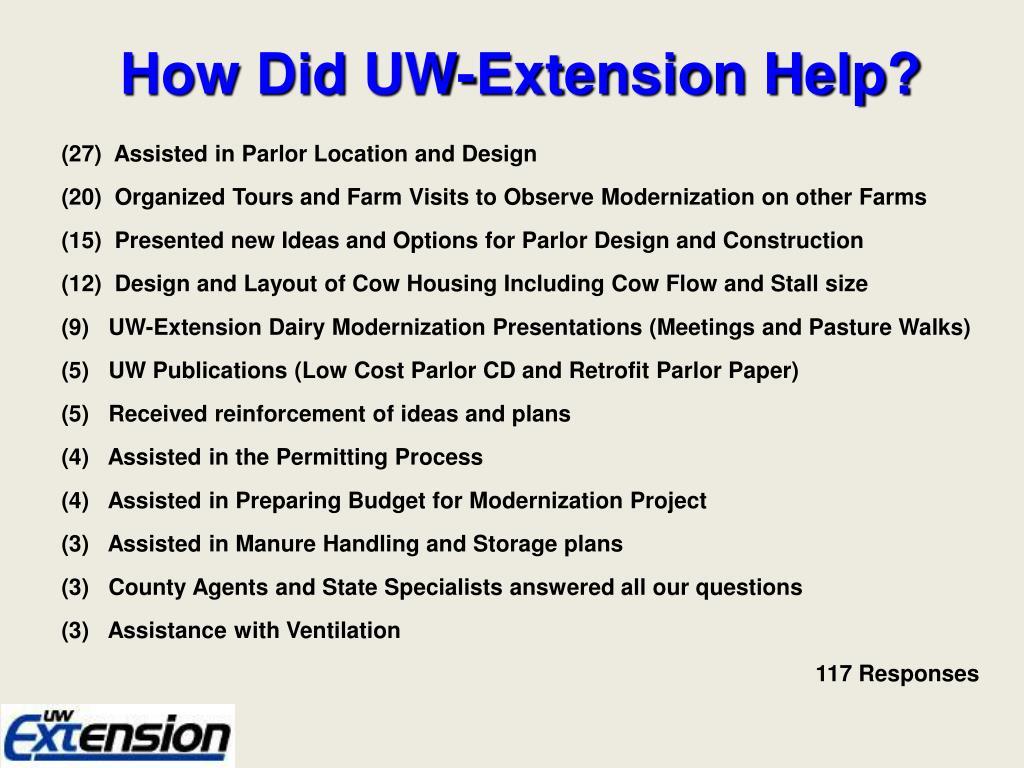 How Did UW-Extension Help?