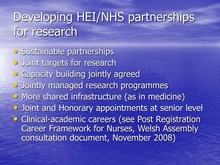 Developing HEI/NHS partnerships for research